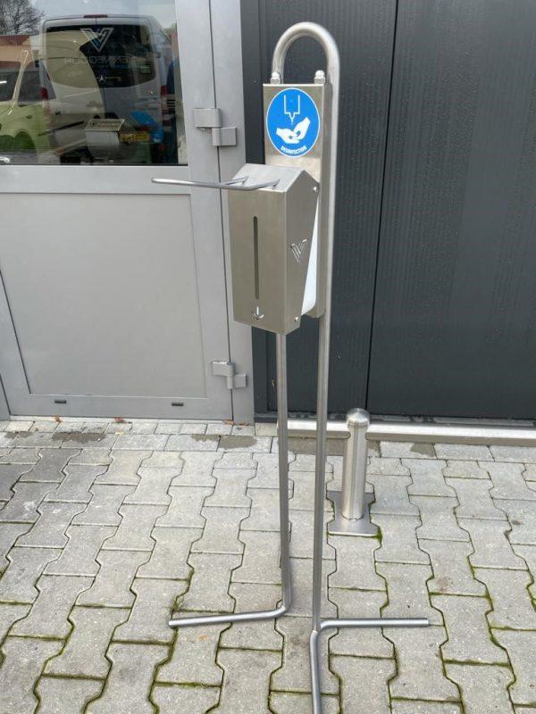 RVS desinfectiezuil staand (hoog model) te koop bij RVS wastrog