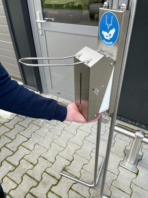Desinfectiezuil RVS Wastrog - Vennegoor Kleinmtaal